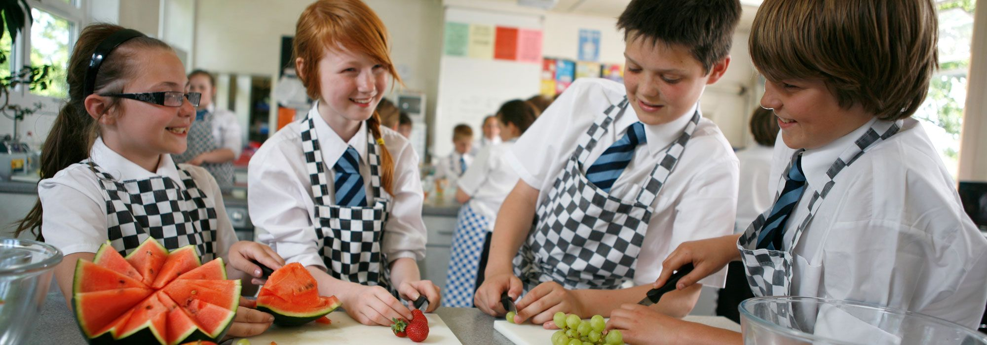 Pupils in home economics class