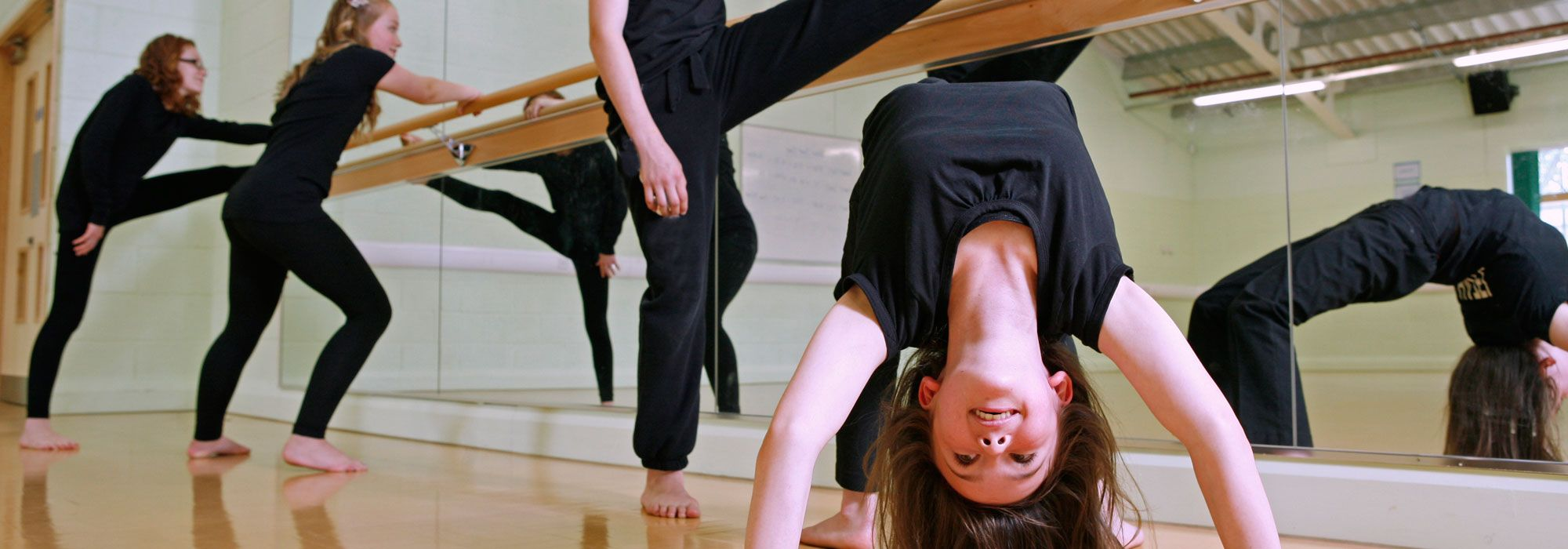 Pupils in dance studio in Wrexham