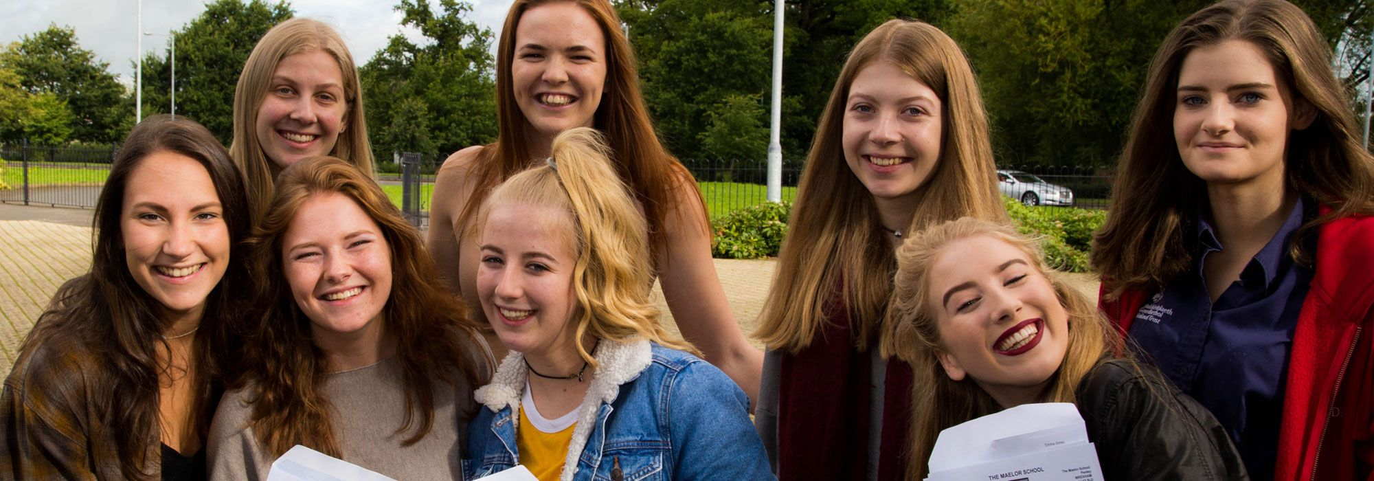 Students collecting GCSE exam results