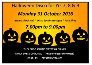 HALLOWEEN DISCO for Yrs 7, 8 & 9